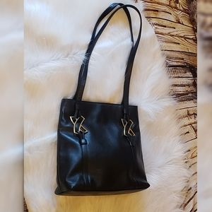 Authentic Paloma Picasso Black Leather Tote Gold X